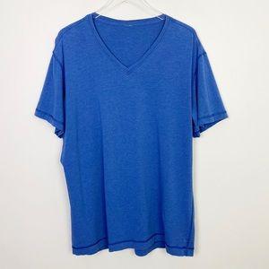 LULULEMON Men's V-Neck Shirt XXL Blue Short Sleeve